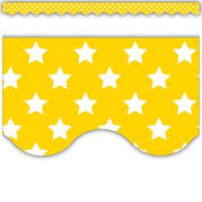 Yellow with White Stars Scalloped Border Trim
