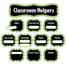 Lime Polka Dots Classroom Helpers Mini Bulletin Board