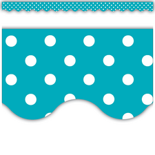 Teal Polka Dots Scalloped Border Trim