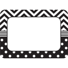 Black & White Chevrons and Dots Name Tags/Labels