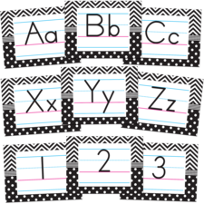 Black & White Chevrons and Dots Alphabet Bulletin Board