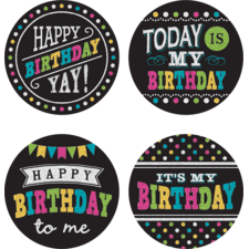 Chalkboard Brights Happy Birthday Wear 'Em Badges