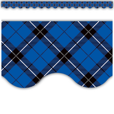 Blue Plaid Scalloped Border Trim
