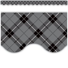 Gray Plaid Scalloped Border Trim