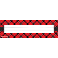 Red Plaid Flat Name Plates