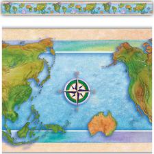 World Continents Straight Border Trim