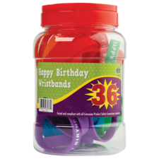 Happy Birthday Wristbands Jar (36 bands)
