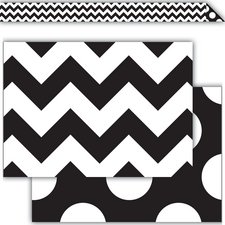 Black & White Chevrons Double-Sided Border