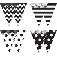 Big Bold Black & White Pennants