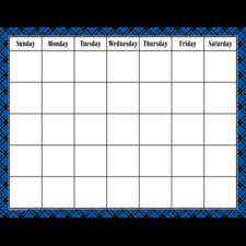 Blue Plaid Calendar Chart