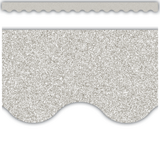 Silver Glitz Scalloped Border Trim