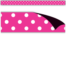Hot Pink Polka Dots Magnetic Strips