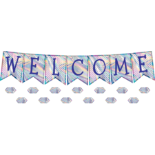 Iridescent Pennants Welcome Bulletin Board Display