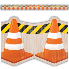 Under Construction Cones Die-Cut Border Trim