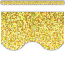 Yellow Sparkle Scalloped Border Trim