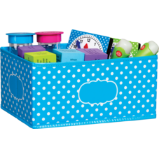 Aqua Polka Dots Small Storage Bin