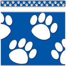 Blue with White Paw Prints Straight Border Trim