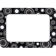 Black/White Crazy Circles Name Tags/Labels