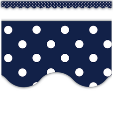 Navy Polka Dots Scalloped Border Trim