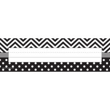 Black & White Chevrons and Dots Flat Name Plates