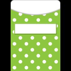 Lime Polka Dots Library Pockets