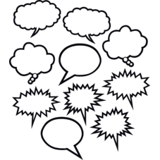 Black & White Speech-Thought Bubbles Accents