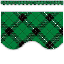 Green Plaid Scalloped Border Trim