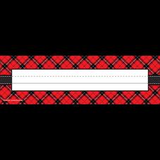 Red Plaid Flat Name Plates