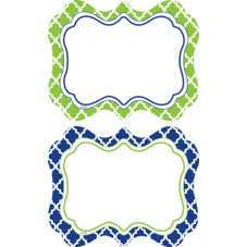 Navy & Lime Wild Moroccan Name Tags/Labels