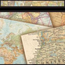 Travel the Map Straight Border Trim
