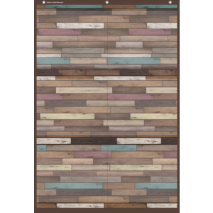 TCR20326 Reclaimed Wood Large 6 Pocket Chart Image