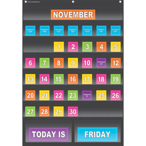 TCR20748 Black Calendar Pocket Chart Image