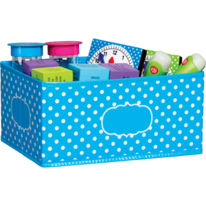 TCR20815 Aqua Polka Dots Small Storage Bin Image