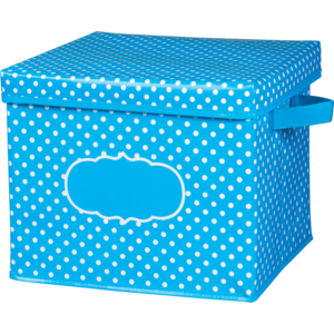 TCR20817 Aqua Polka Dots Storage Box Image