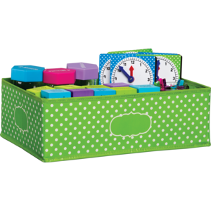 TCR20819 Lime Polka Dots Storage Bin Image