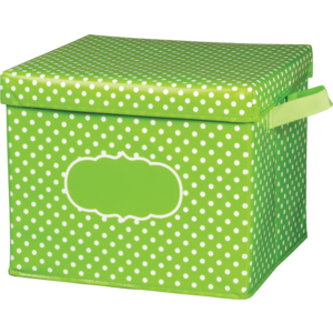 TCR20820 Lime Polka Dots Storage Box Image