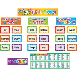 TCR20846 Second 100 Sight Words Pocket Chart Cards Image