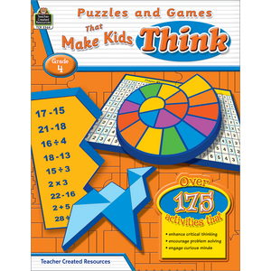 TCR2564 Puzzles and Games that Make Kids Think Grade 4 Image