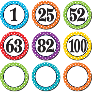 TCR2568 Polka Dots Number Cards Image