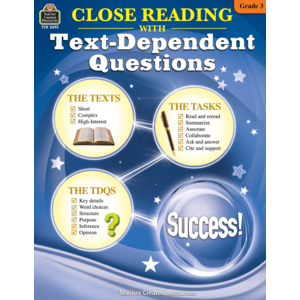 TCR2692 Close Reading Using Text-Dependent Questions Grade 3 Image