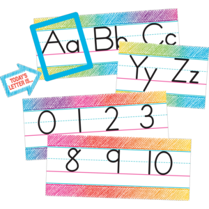 TCR3052 Colorful Scribble Alphabet Line Bulletin Board Image