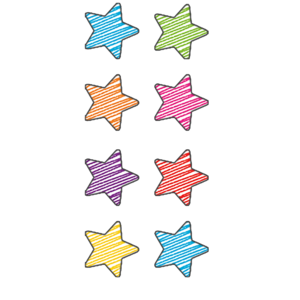 TCR3073 Scribble Stars Mini Stickers Image