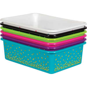TCR32218 Assorted Confetti Large Plastic Storage Bins Set 6-Pack Image