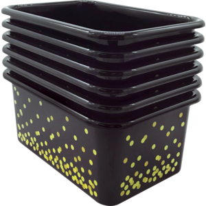 TCR32236 Black Confetti Small Plastic Storage Bins 6-Pack Image