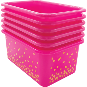 TCR32238 Pink Confetti Small Plastic Storage Bins 6-Pack Image