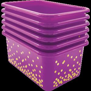 TCR32239 Purple Confetti Small Plastic Storage Bins 6-Pack Image
