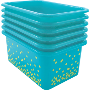 TCR32240 Teal Confetti Small Plastic Storage Bins 6-Pack Image