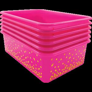 TCR32245 Pink Confetti Large Plastic Storage Bins 6-Pack Image