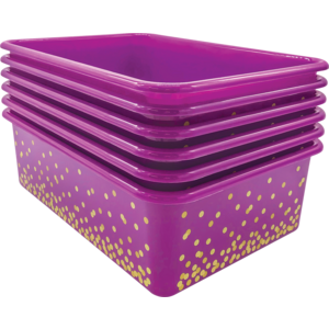 TCR32246 Purple Confetti Large Plastic Storage Bins 6-Pack Image