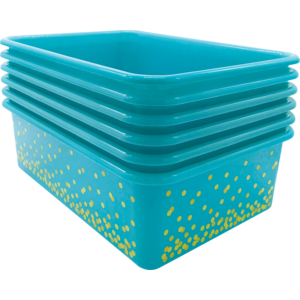 TCR32247 Teal Confetti Large Plastic Storage Bins 6-Pack Image